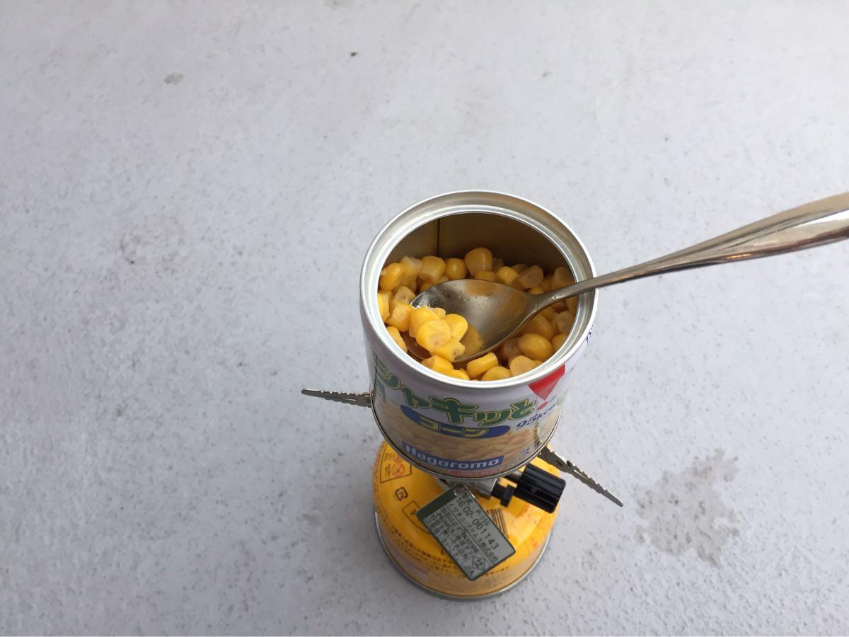 シングルバーナーと缶詰だけで作る缶詰料理 コーンバター
