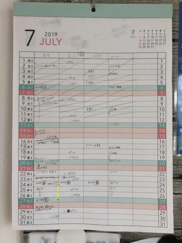 家族の予定共有がしやすい!ダイソーA3家族カレンダーが便利!