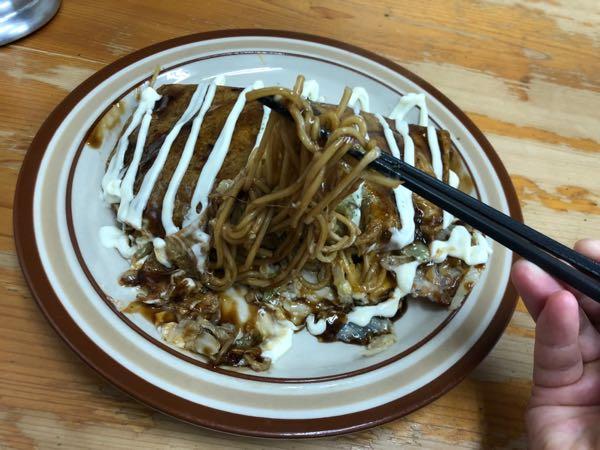 岡山駅周辺のおいしいお好み焼き屋さん「幸」の豚玉モダン