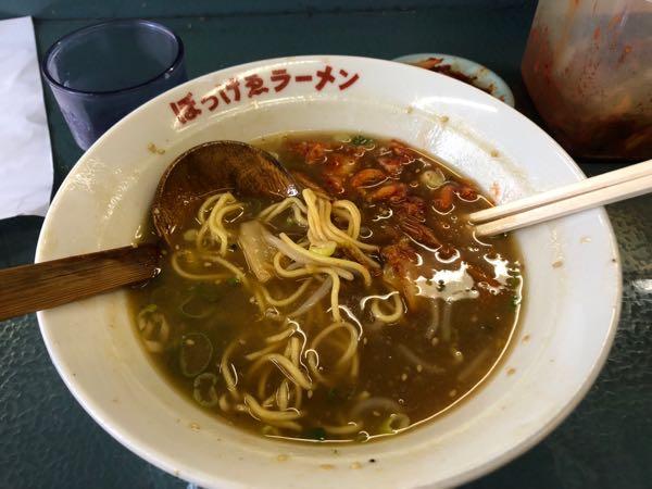 岡山「ぼっけえラーメン」キムチを混ぜた状態