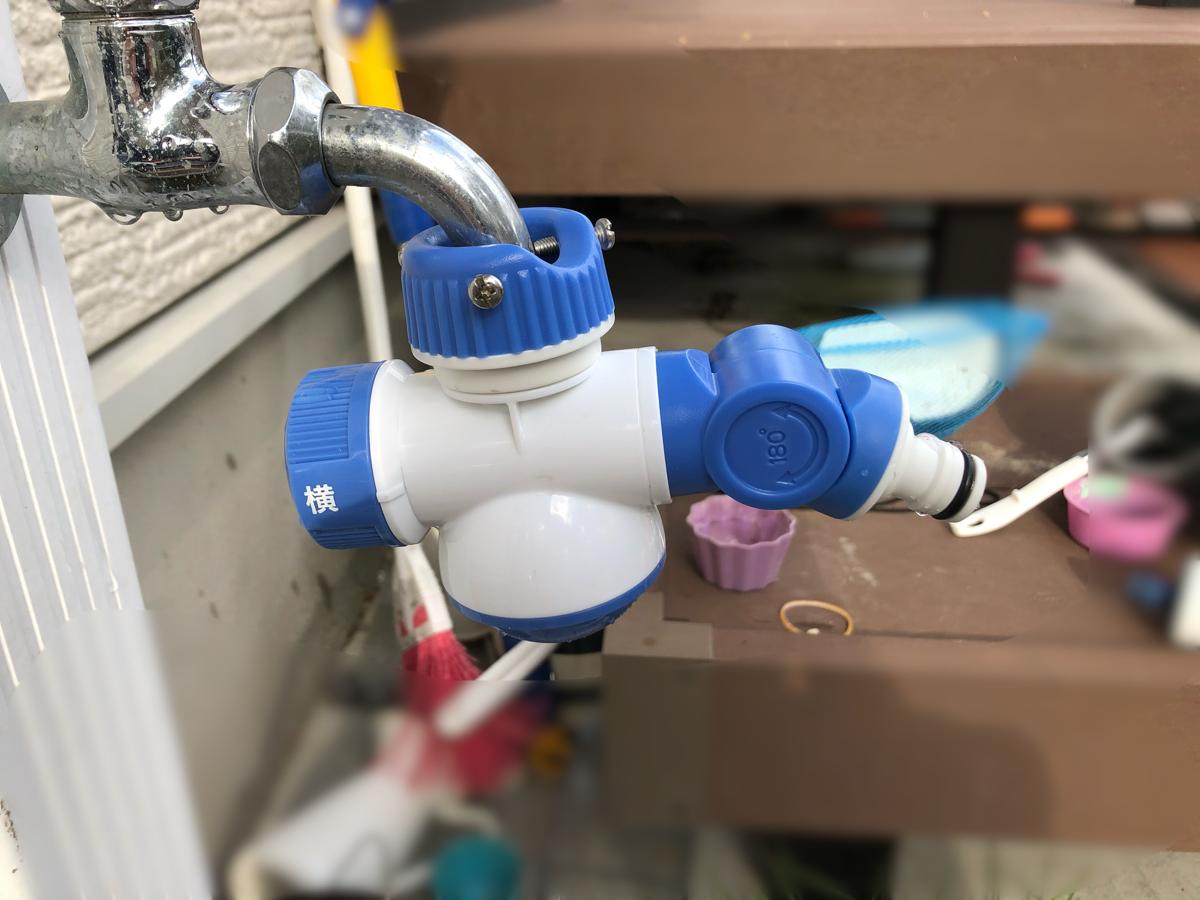 ホースを外さず手洗いできる水道の蛇口分岐コネクター(LIFELEX)を取り付けたところ